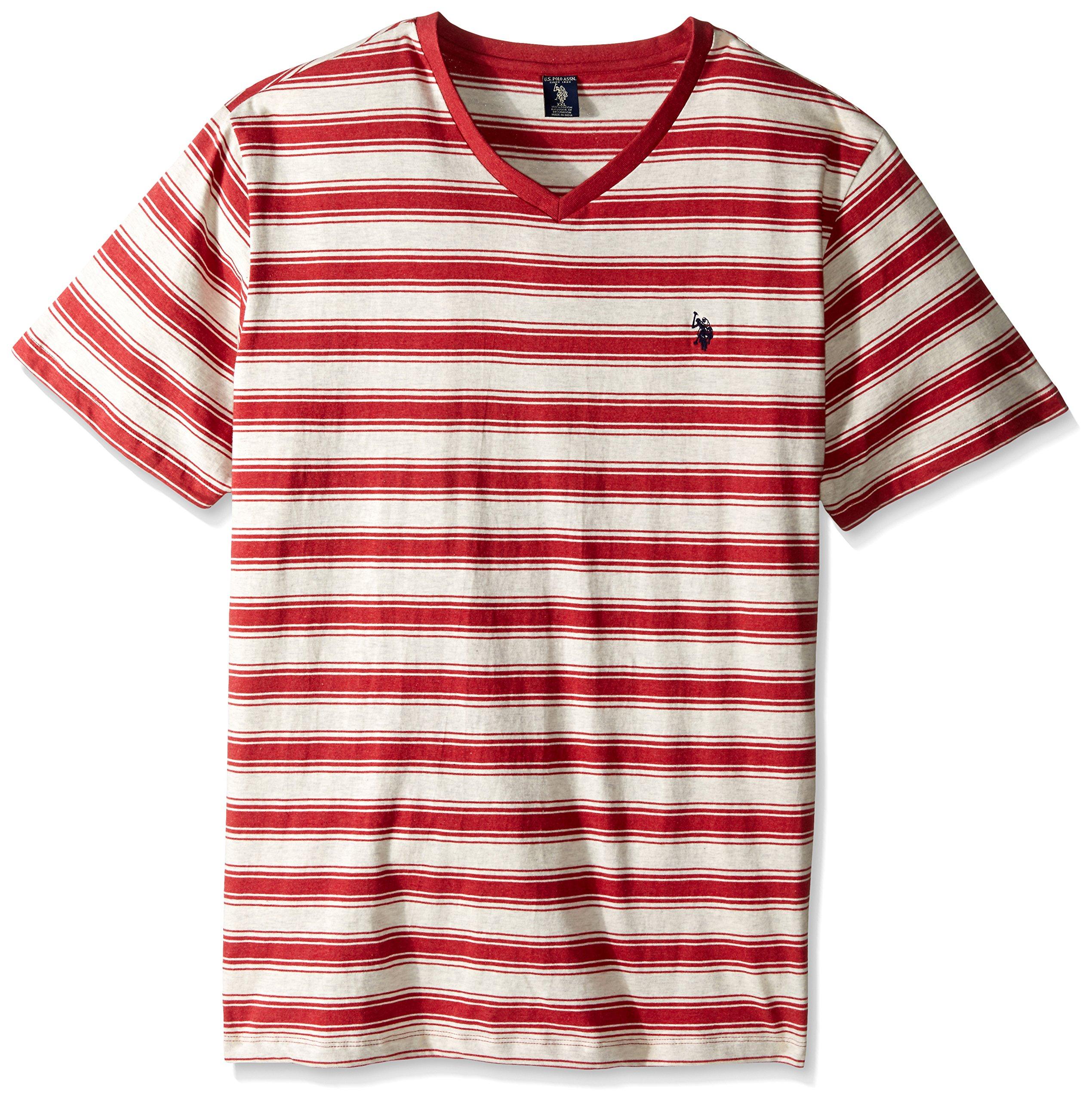U.S. Polo Assn.. Men's Big-Tall Short Sleeve Shadow Stripe V-Neck T-Shirt, Red Heather, X-Large/Tall