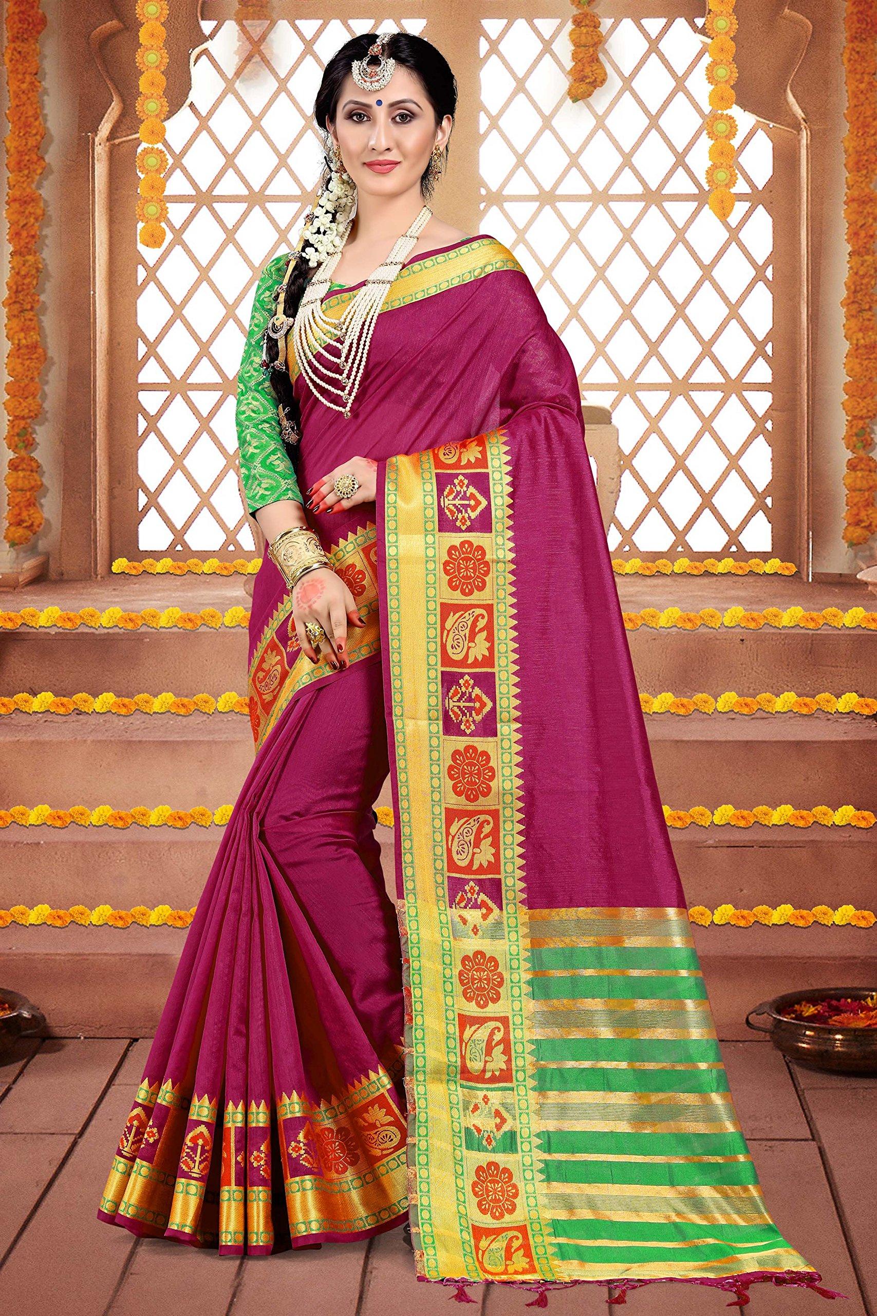 ELINA FASHION Sarees Women Cotton Silk Woven Saree l Indian Wedding Gift Sari Un Stitched Blouse by ELINA FASHION (Image #2)