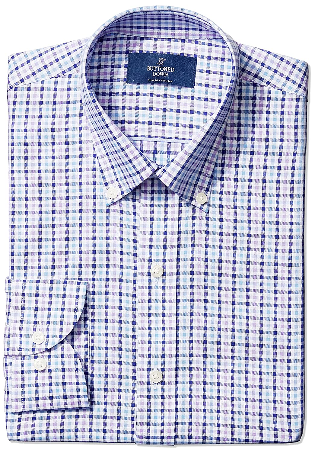 Buttoned Down Mens Slim Fit Button Collar Pattern MBD30015