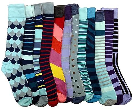 e3f3ffee417c 12 Pairs of Sockbin Mens Dress Socks, Colorful Patterned Fashion Dress Socks  (10-