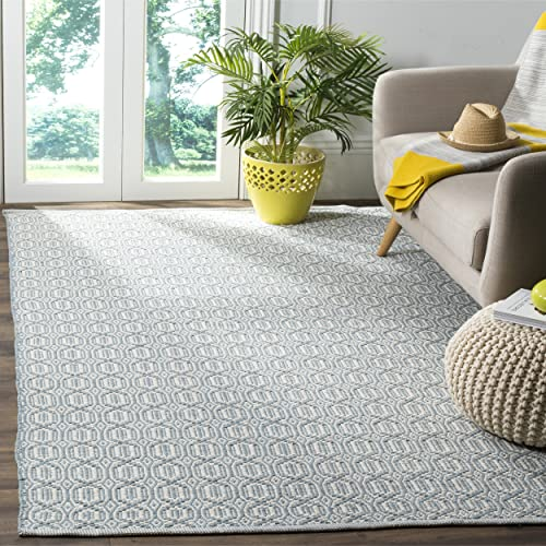 Safavieh Montauk Collection MTK333L Handmade Flatweave Ivory and Blue Cotton Area Rug 4 x 6