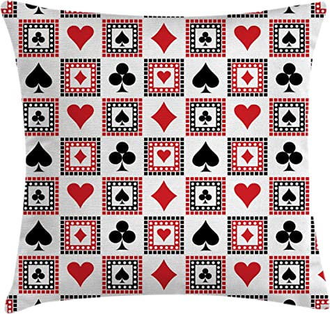 Scarlet Black Playings Cards Clubs Hearts Symmetrical Geometric Repeating Ornamental Decorative Square Accent Pillow Case Ambesonne Casino Throw Pillow Cushion Cover 20 X 20