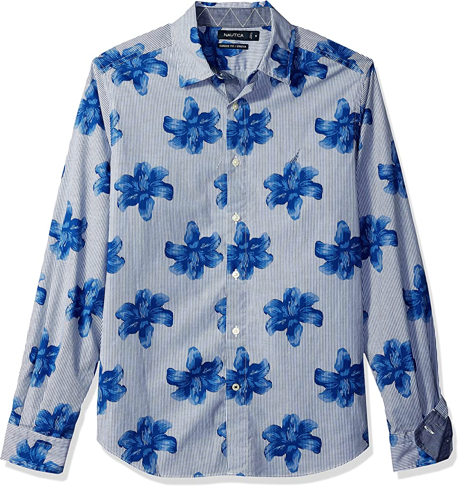 Nautica Mens Classic Fit Stretch Print Long Sleeve Button Down Shirt: Amazon.es: Ropa y accesorios