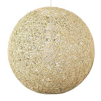 MiniSun Abat Jour Moderne pour Suspension. Ballon de 30 cm en Osier Tressé  Crème. Adapte pour Douille de 42 mm avec bague de réduction pour douille ...