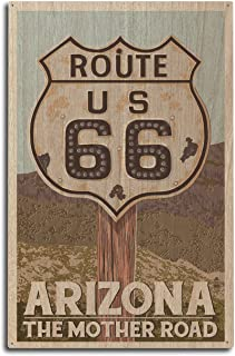 product image for Arizona - Route 66 - Letterpress (10x15 Wood Wall Sign, Wall Decor Ready to Hang)