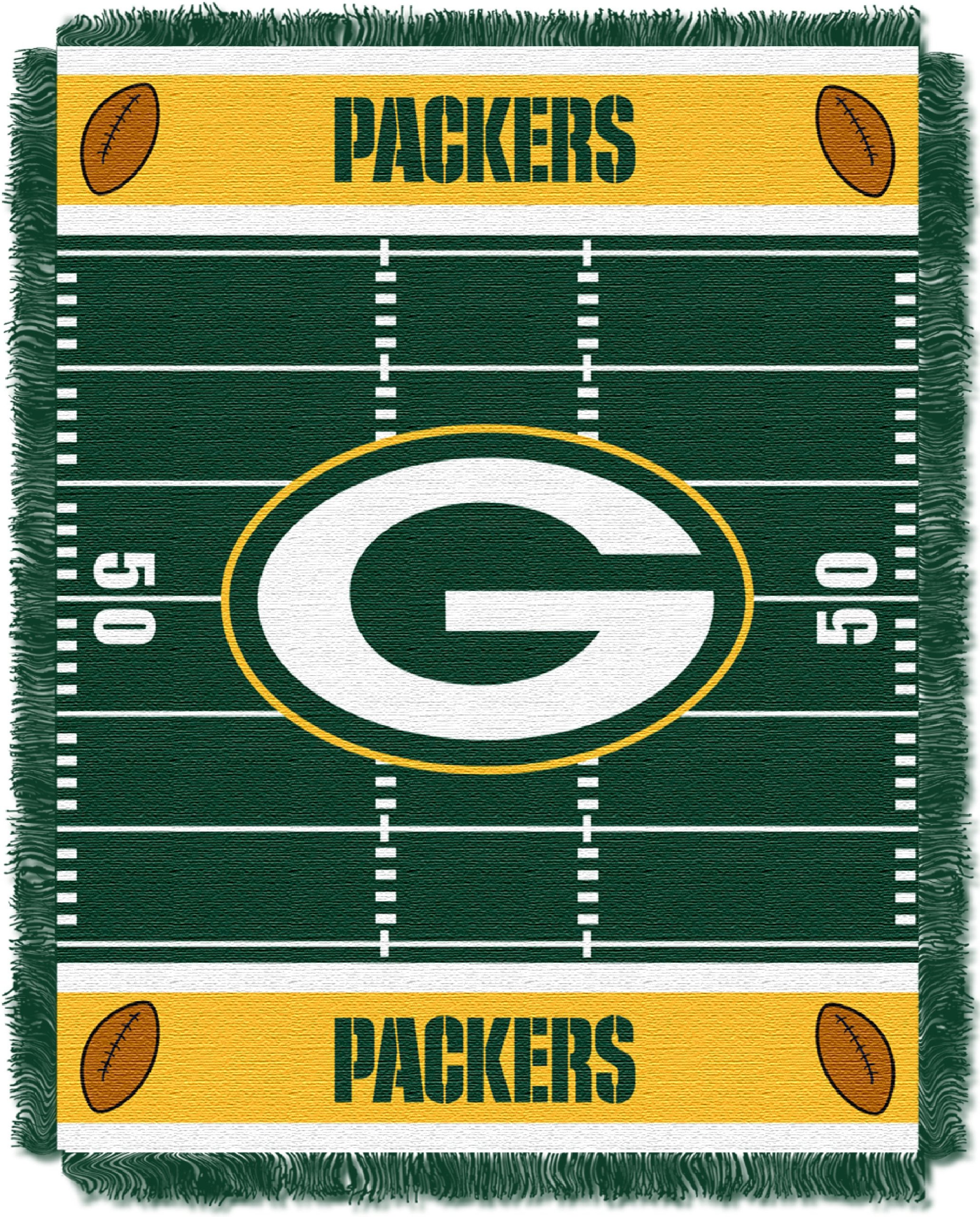 The Northwest Company Officially Licensed NFL Green Bay Packers Field Bear Woven Jacquard Baby Throw Blanket, 36'' x 46'', Multi Color by The Northwest Company