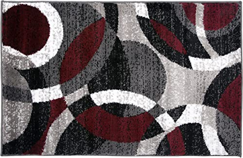 Contemporary Modern Circles Abstract Area Rug 2 x 3 Red