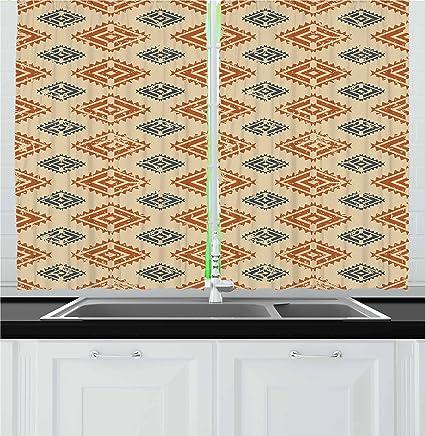 Amazon Com Ambesonne Zambia Kitchen Curtains Ethnic Tribal Folk