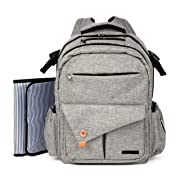 Diaper Bag Backpack by A&D goods:Multi-Function Waterproof Bag with Adjustable Shoulder Straps, Spacious Compartments, Stroller Straps, Insulated Pockets - Gray for Men & Women – with Changing Pad