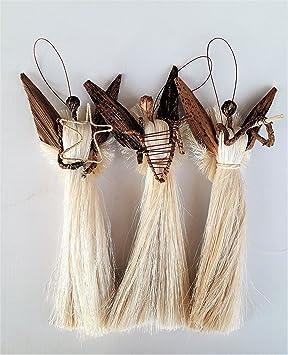 3 Sisal Engel Aus Bananenblatt Christbaumschmuck Aus Kenia