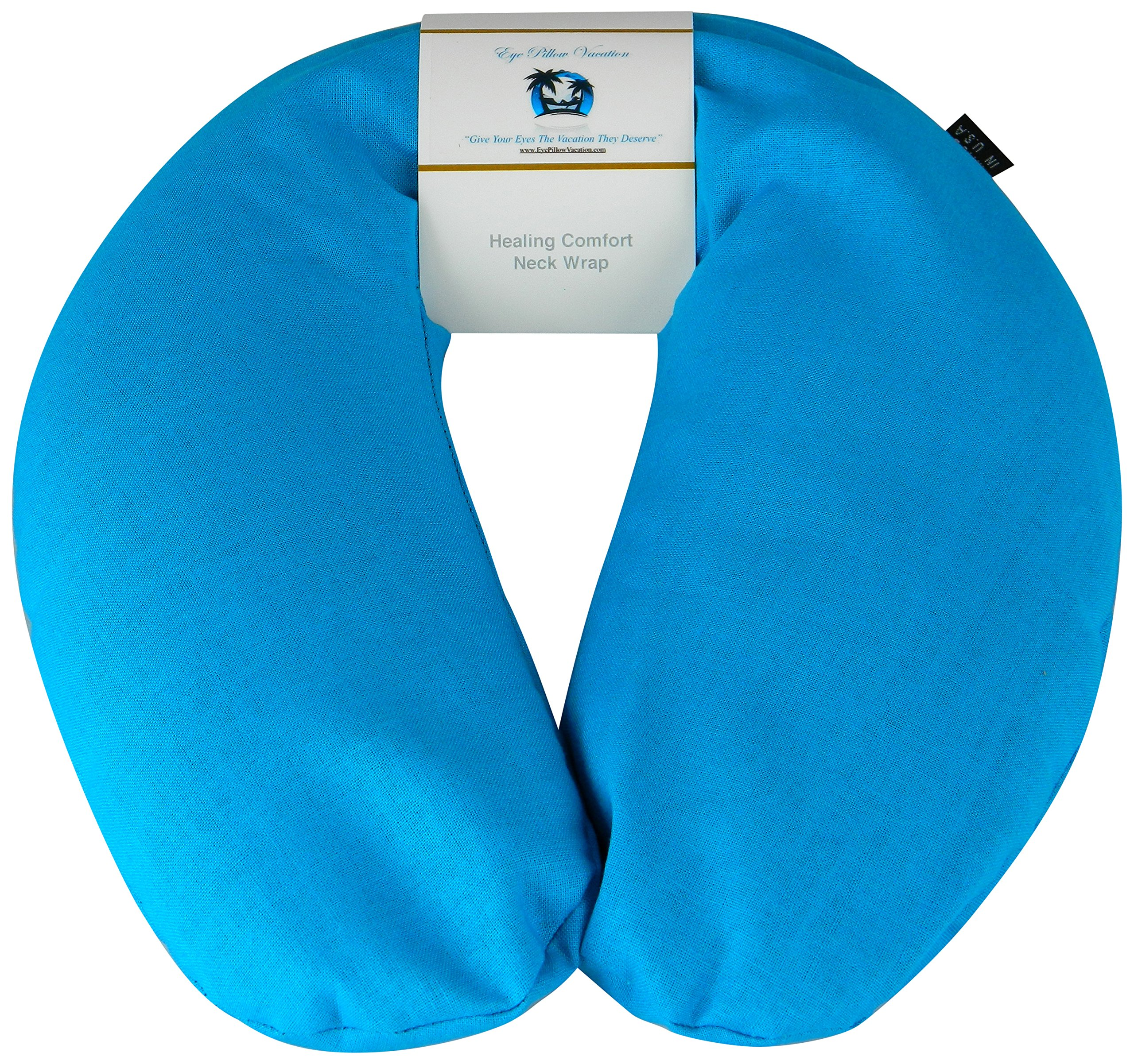 Neck Pain Relief Pillow - Hot/Cold Therapeutic Herbal Pillow For Shoulder & Neck Pain, Stress & Migraine Relief (Turquoise - Organic Cotton)