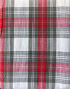 Ridgefield Home Fabric Cotton Christmas Holiday Scottish Plaid Tartan Pattern Tablecloth Set with 10 Napkins Shades of Red White Green and Black 60 Inches by 118 Inches