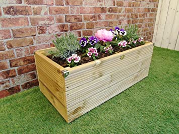 Extra Large 3 Layer Wooden Garden Decking Trough Planter Pot