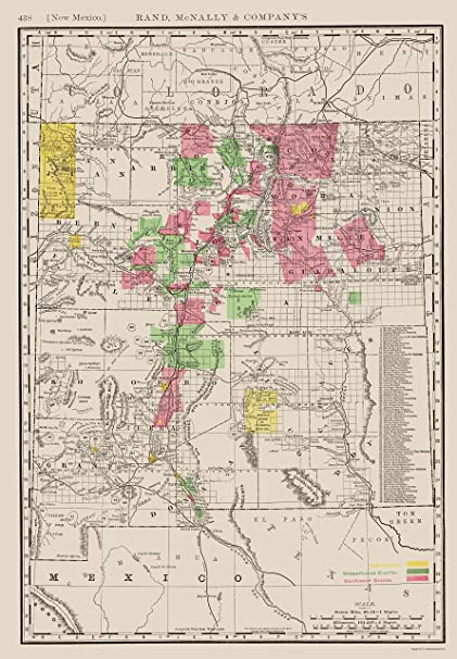 Old State Map - New Mexico - Rand McNally 1897 - 23 x 33.07 - Glossy