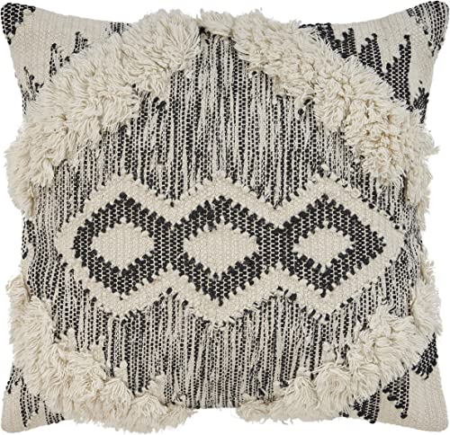 L.R. Resources PILLO07327IOBFFPL Bronco Zigzag Indoor Throw Pillow, 20 x20 , Ivory Black