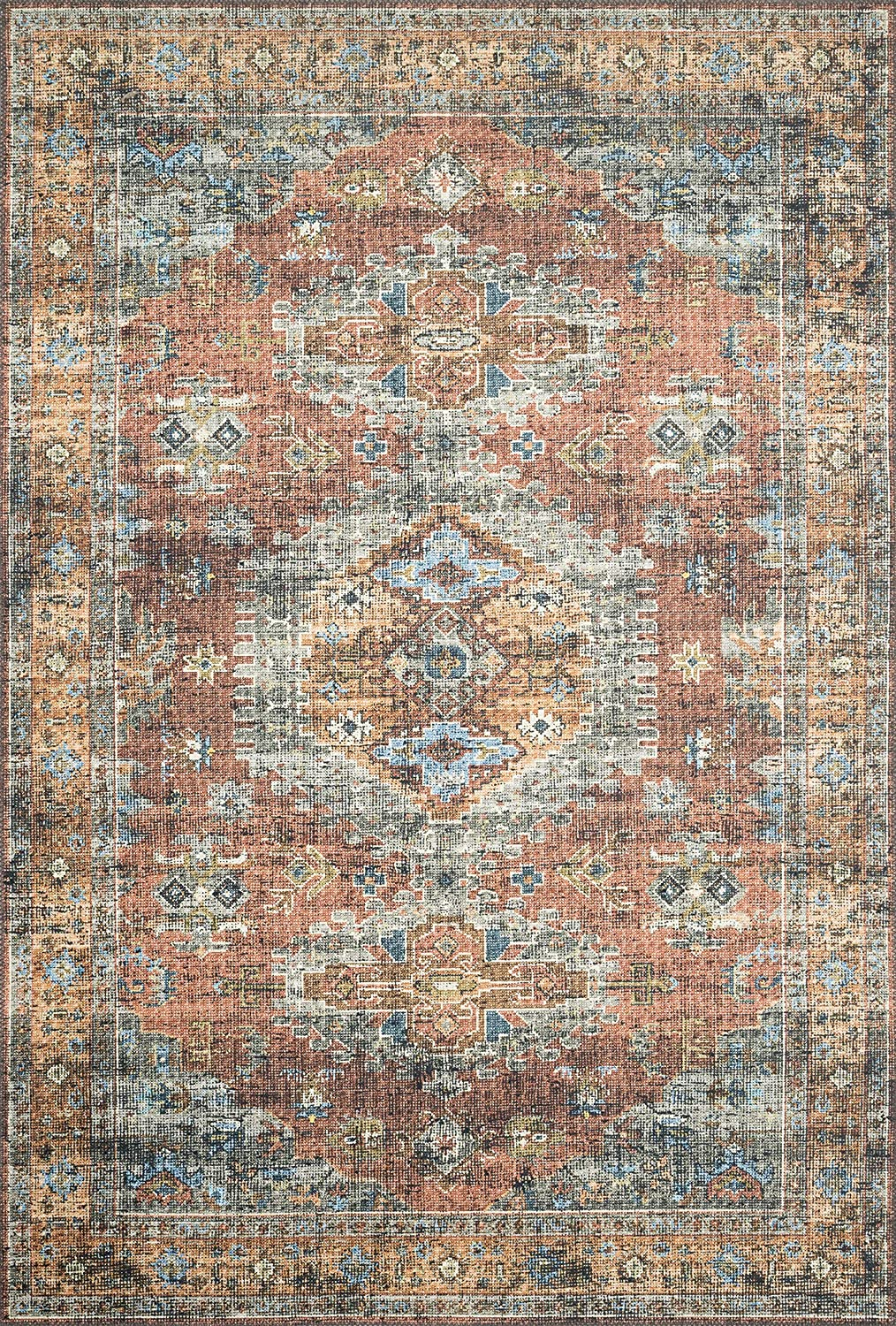"Loloi ll Skye Collection Printed Distressed Vintage Area Rug, 2'-3"" x 3'-9"", Terracotta/Sky"