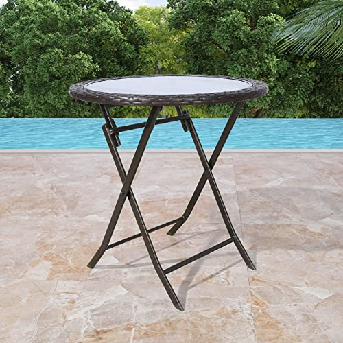 Patio Tree Outdoor 27 Round Wicker Folding Dining Table