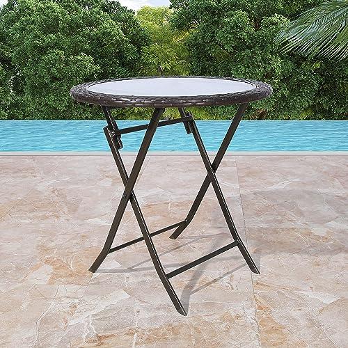 Patio Tree Outdoor 27″ Round Wicker Folding Dining Table