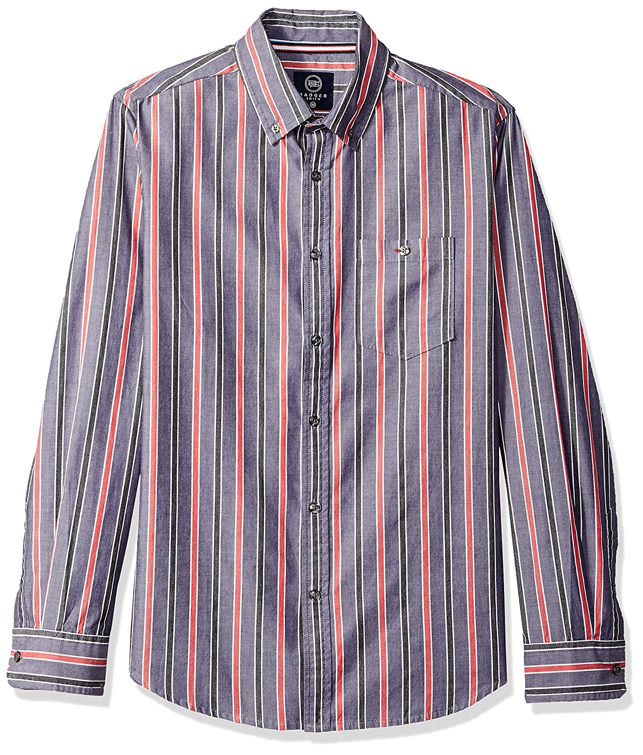 Badger Smith Mens Cotton Chambray Stripes Slim Fit Button Down Shirt