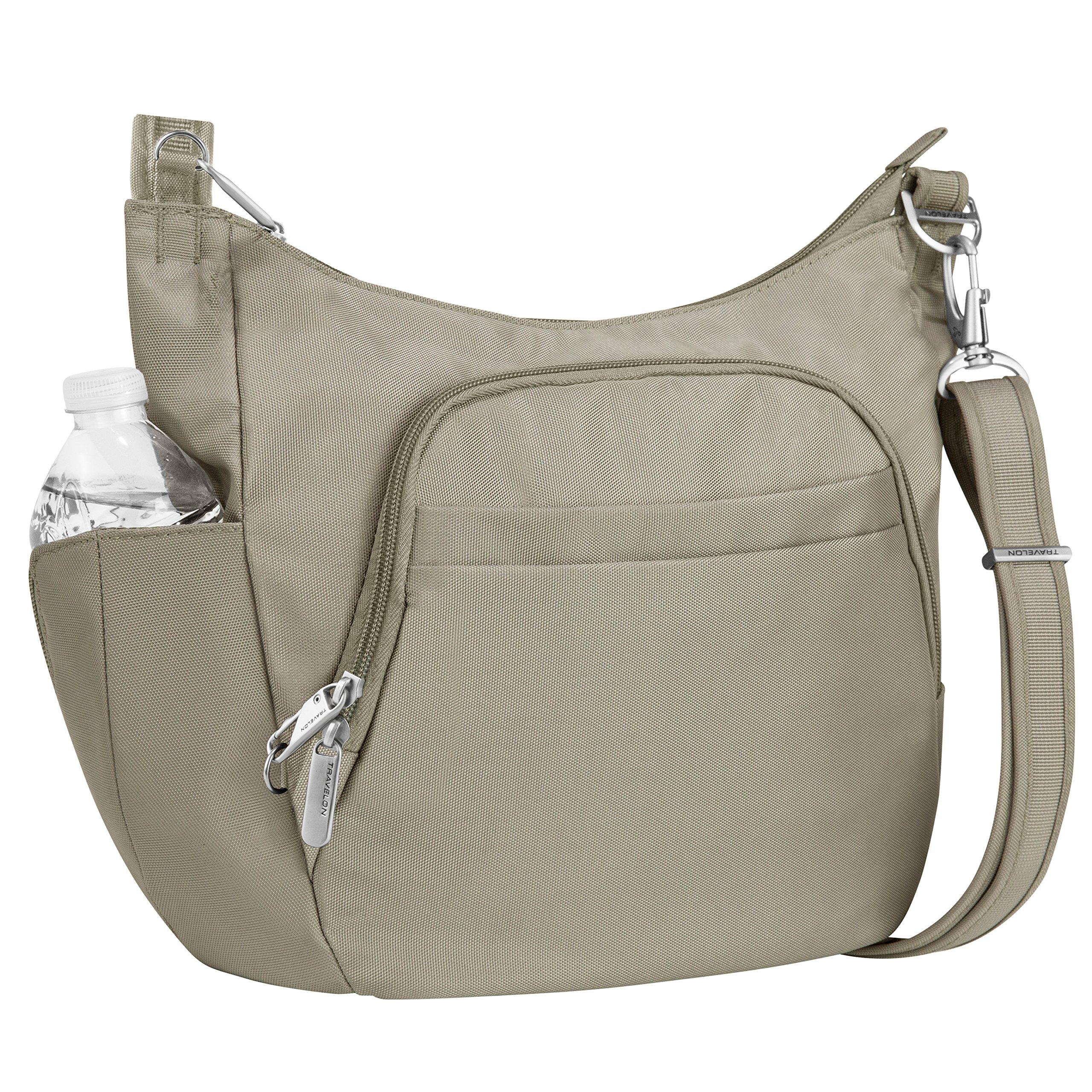 Travelon Anti-Theft Cross-Body Bucket Bag, Stone, One Size