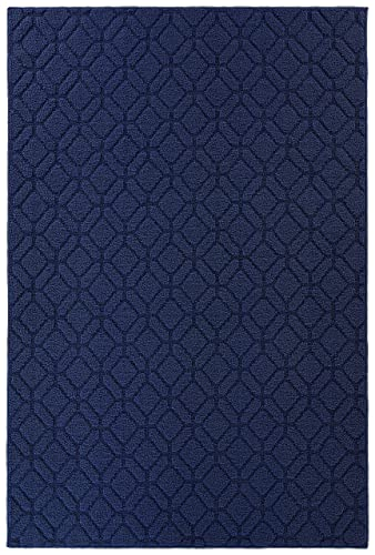 Garland Rug LL780M048072E5 Brentwood Amherst Indoor Outdoor Area Rug 4-Feet by 6-Feet Indigo Blue