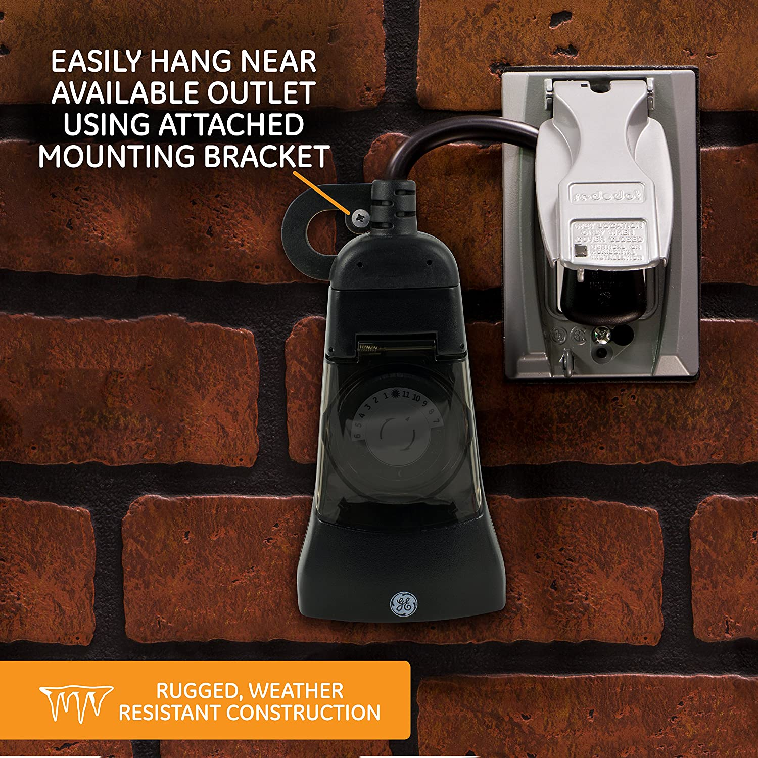 30 Minute Intervals GE 24-Hour Indoor//Outdoor Programmable Mechanical Timer 2 Grounded Outlets 15138 Dual Outlet Plug-In Heavy Duty Weather Resistant