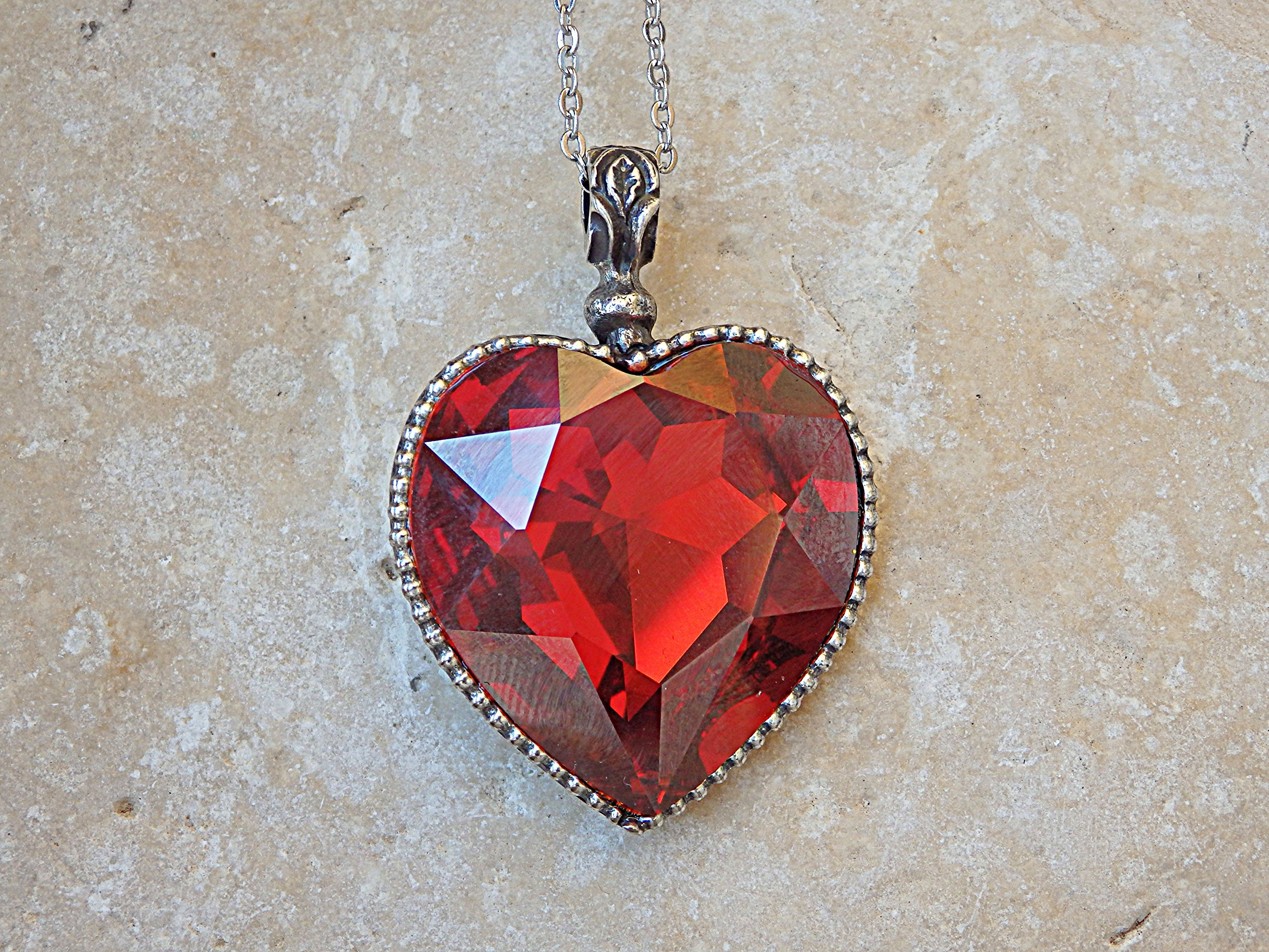 Rebeka jewelry Anniversary wife girlfriend jewelry gift. Red Heart Shaped Necklace, Ruby Swarovski Heart Necklace, Heart Jewelry, Silver or gold Necklace,