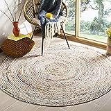 Safavieh Cape Cod Collection CAP202B Handmade Boho Braided Jute & Cotton Area Rug, 4' x 4' Round, Beige / Multi