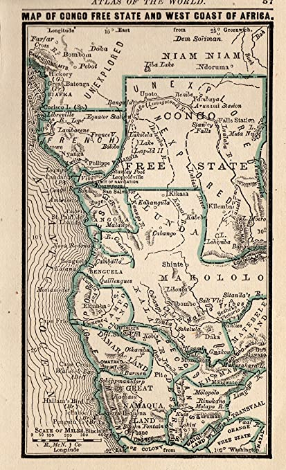 92848ae0f0 1888 Antique Congo Free State Map of Africa Original Vintage Miniature Map  of Africa Rare Size