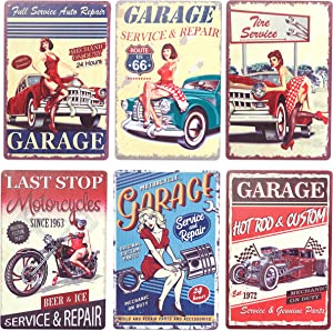 Okuna Outpost Vintage Metal Signs for Garage, Retro Wall Decor (8 x 11.8 in, 6 Pack)