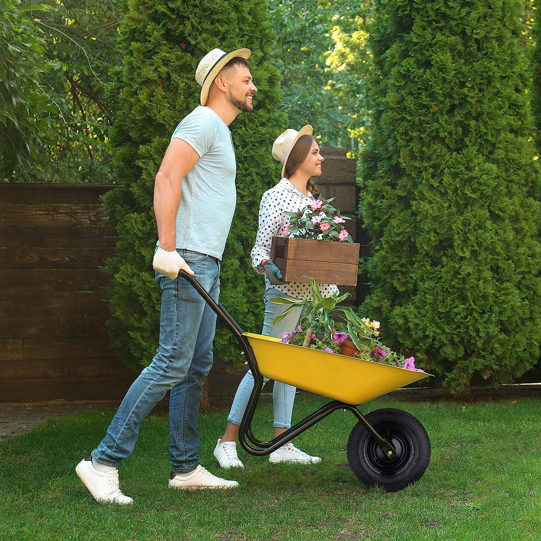 Relaxdays Rueda para Carretilla de jardín, 4.80 4.00-8, Neumático, Llanta de Acero, con Eje, 120 kg, 1 Ud, Negro: Amazon.es: Jardín