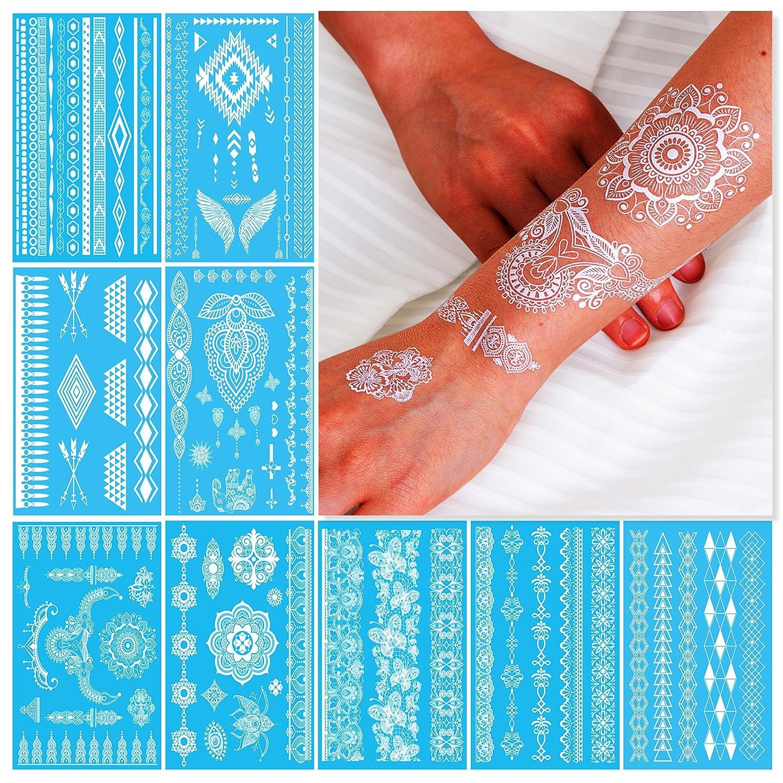Skin Art Temporary Transfer Tattoos Assorted Silver Powder Accessories