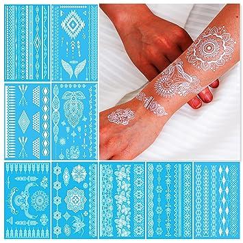 Amazon Com White Henna Temporary Tattoos For Women Teens Girls 9