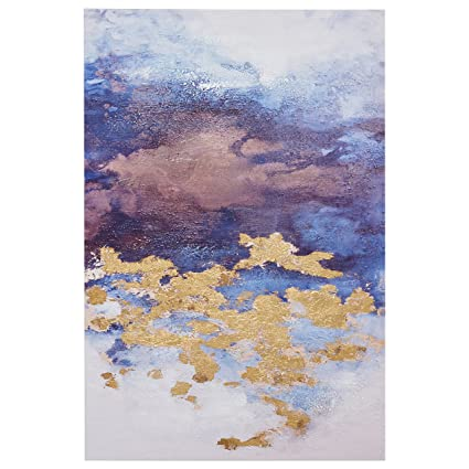 Rivet Abstract Clouds with Gold Leaf Accent on Canvas, 24