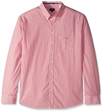 22ec215b3e GANT Men's Classic Broadcloth Banker Stripe Shirt at Amazon Men's ...