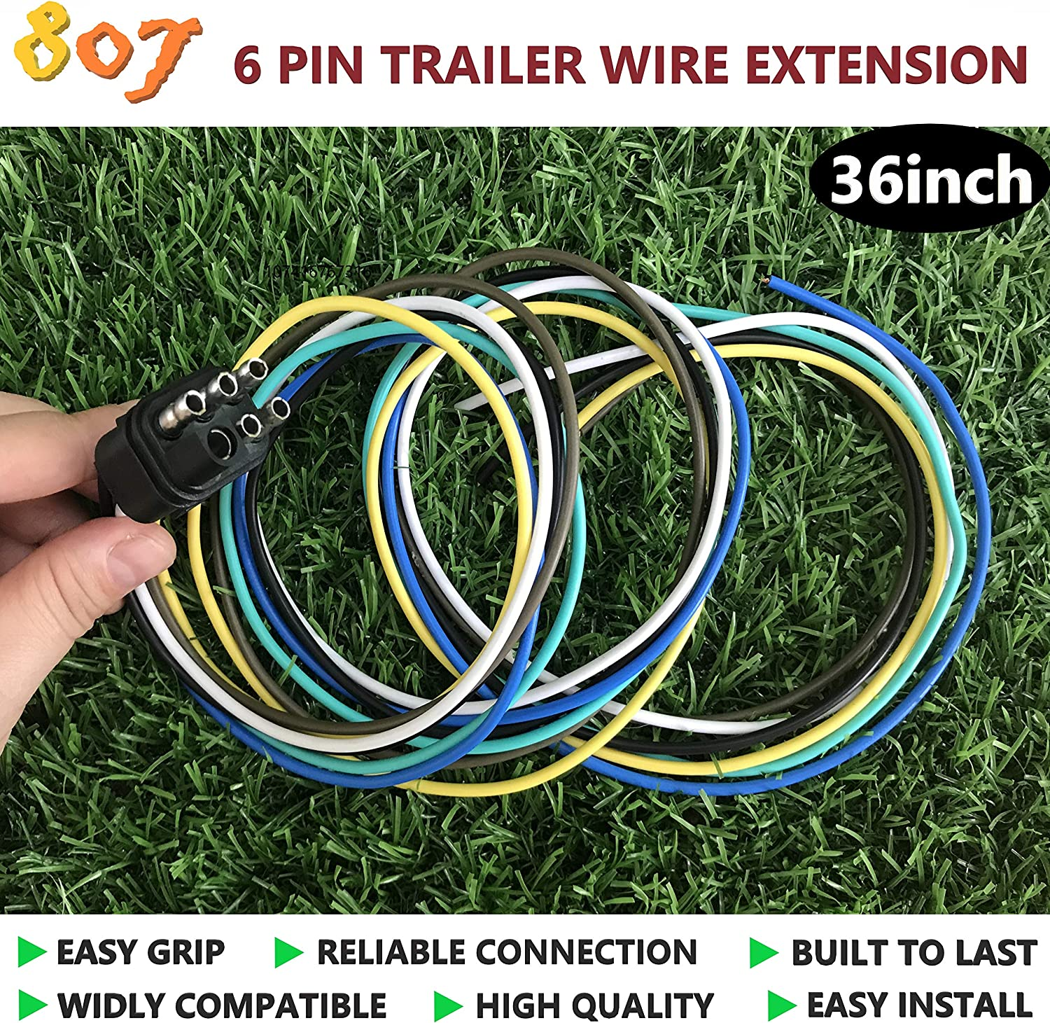 6 Way-Socket 807 Square 6-Way Trailer Wiring Harness Connectors,6 pin Square Trailer Wire Extension for LED Brake Tailgate Light Bars,Hitch Light Trailer Wiring Harness Extension Connector