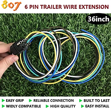 CURT 58090 Vehicle-Side 6-Way Round Trailer Wiring Harness Socket 6-Pin Trailer Wiring Towing Products & Winches Wiring