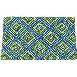"Entryways Summer GeometricHandmade, Hand-Stenciled, All-Natural Coconut Fiber Coir Doormat 18"" X 30"" x .75"""
