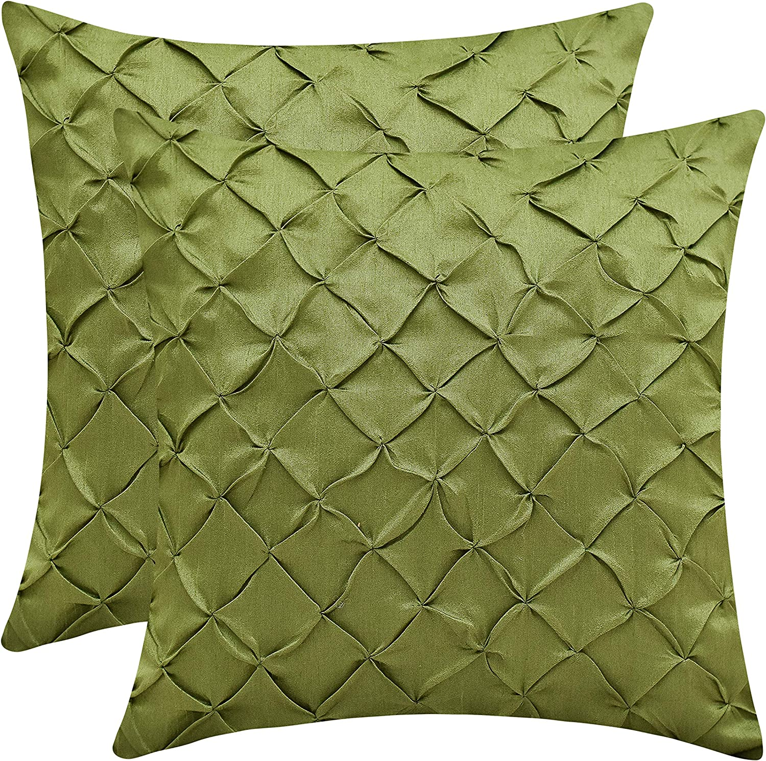 The White Petals Moss Green Throw Pillow Covers (Faux Silk, Pinch Pleat, 12x12 inch, Pack of 2)