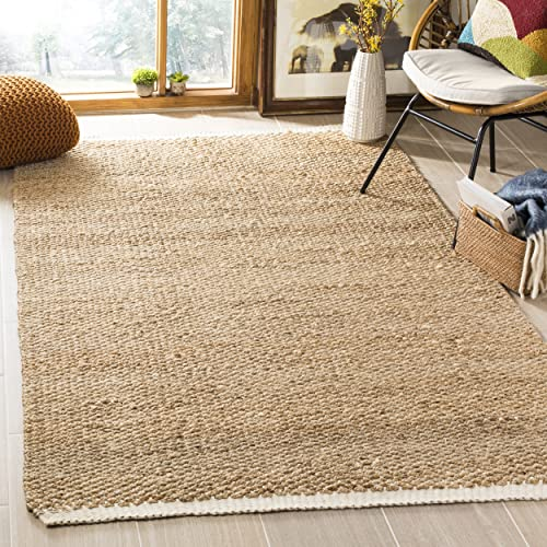 Safavieh Natural Fiber Collection NF465A Hand Woven Ivory and Natural Jute Area Rug 9 x 12