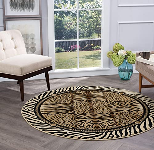 Tayse Savannah Beige 6 Foot Round Area Rug for Living, Bedroom, or Dining Room – Contemporary, Animal
