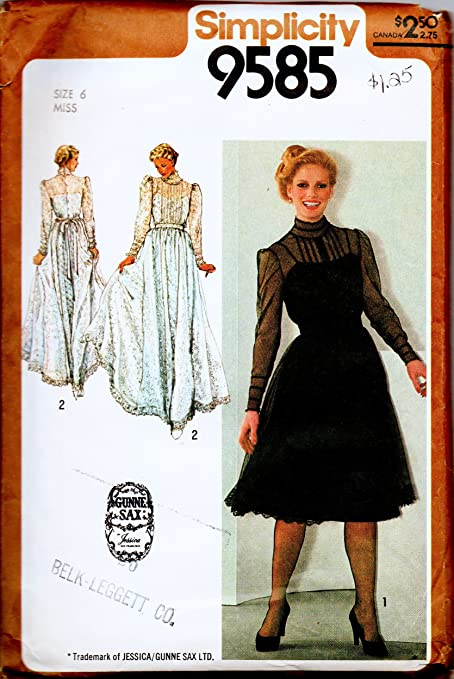 Amazon.com: Simplicity Pattern 9585 Misses\' Gunne Sax Dress Vintage ...