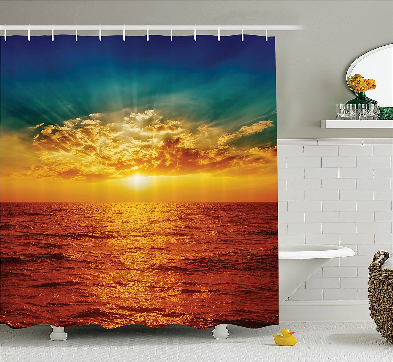 Brown Cream 69W X 70L Inches Bathroom Accessories Boho Seashells Pattern Divided Two Part Effects Hear The Ocean Creature Concept Ambesonne Seashells Decor Shower Curtain Set
