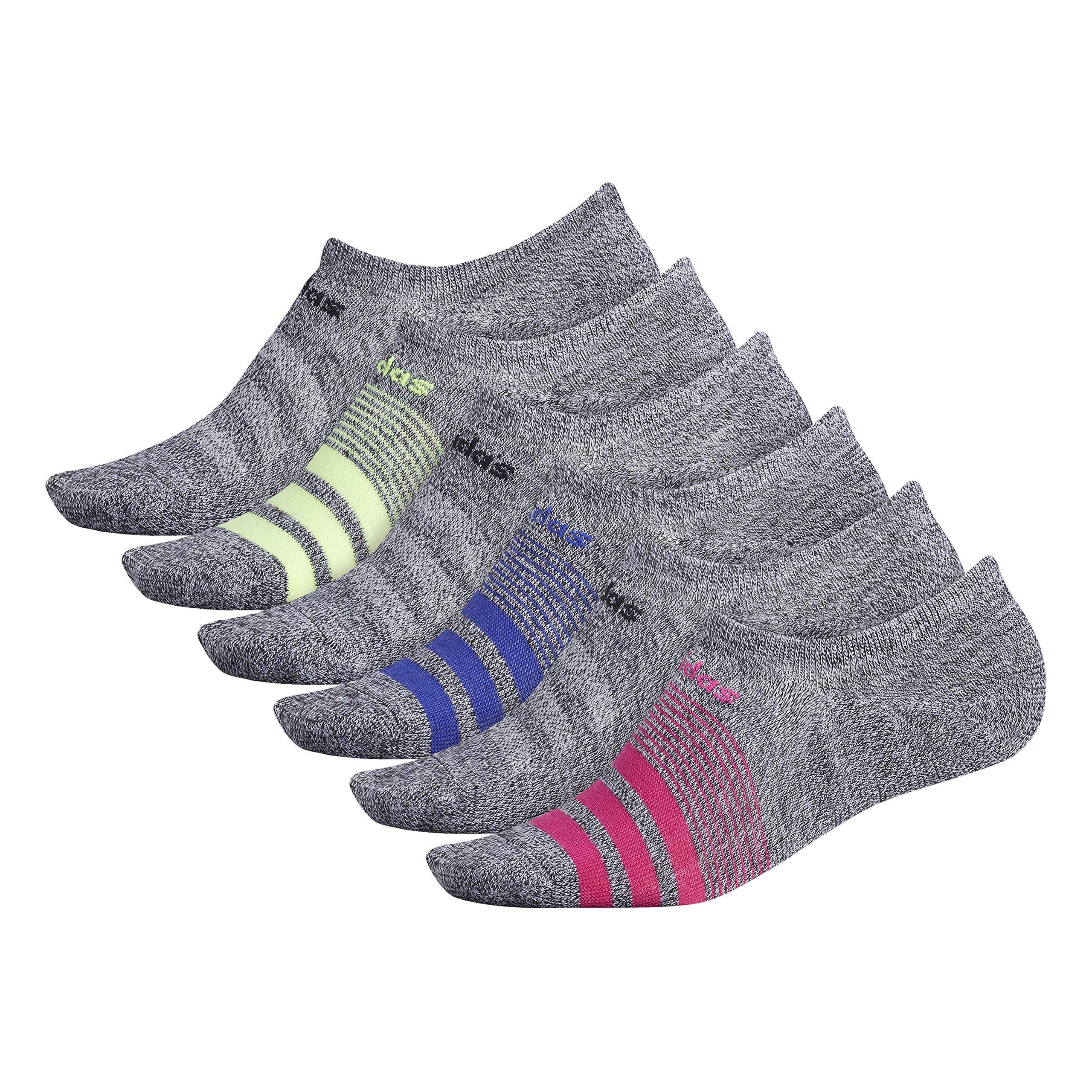adidas Women's Superlite Super No Show Socks (6-Pair), Black - White Marl/Real Magenta/Black/Active Blue/Hi, Medium, (Shoe Size 5-10) by adidas