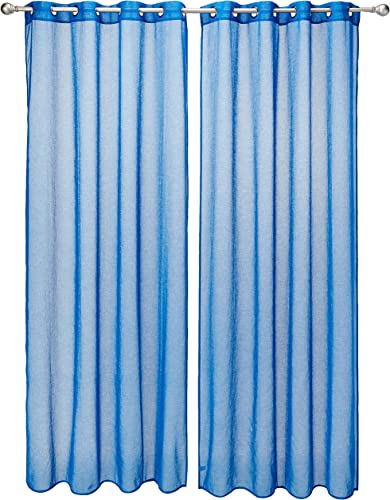 Deconovo Linen Look Grommet Transparent Curtains for Baby Room Sheer Window Curtains 95 Inch Length Blue Set of 2