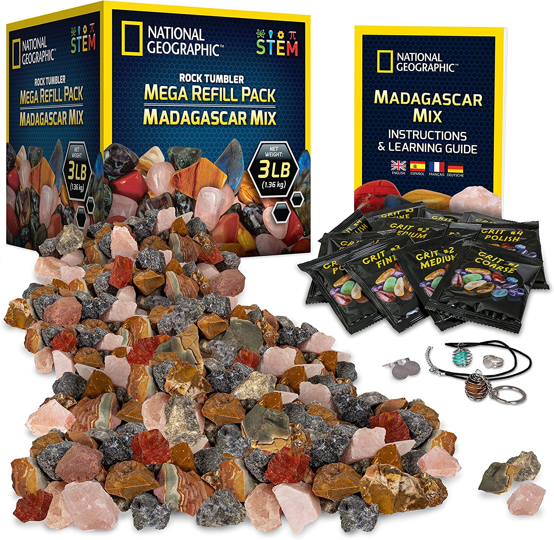 NATIONAL GEOGRAPHIC Rock Tumbler Refill – Mega Madagascar Gemstone Pack, 3 lb of Gemstones Including Rose Quartz, Jasper, Labradorite, & More, Tumbler Grit & Jewelry Settings