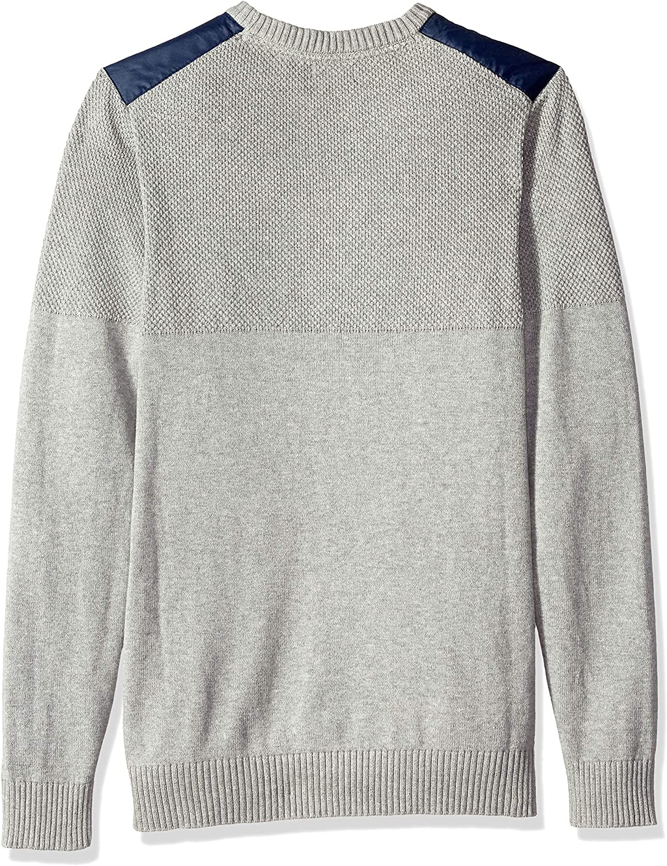 Izod Mens Mixed Media Jacquard 9 Gauge Crewneck Sweater Pullover Sweater