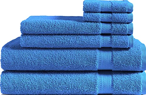 Amazon Com 100 Cotton 6 Piece Towel Set M Blue 500 Gsm 2 Bath Towels 2 Hand Towels And 2 Washcloths Classic Amercian Construction Soft Highly Absorbent Machine Washable Kitchen Dining