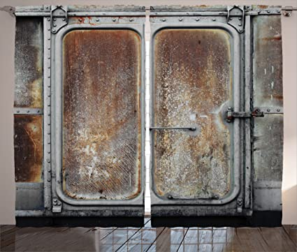 Ambesonne Industrial Decor Curtains By Vintage Railway Container Door Metal Old Locomotive Transportation Iron Power