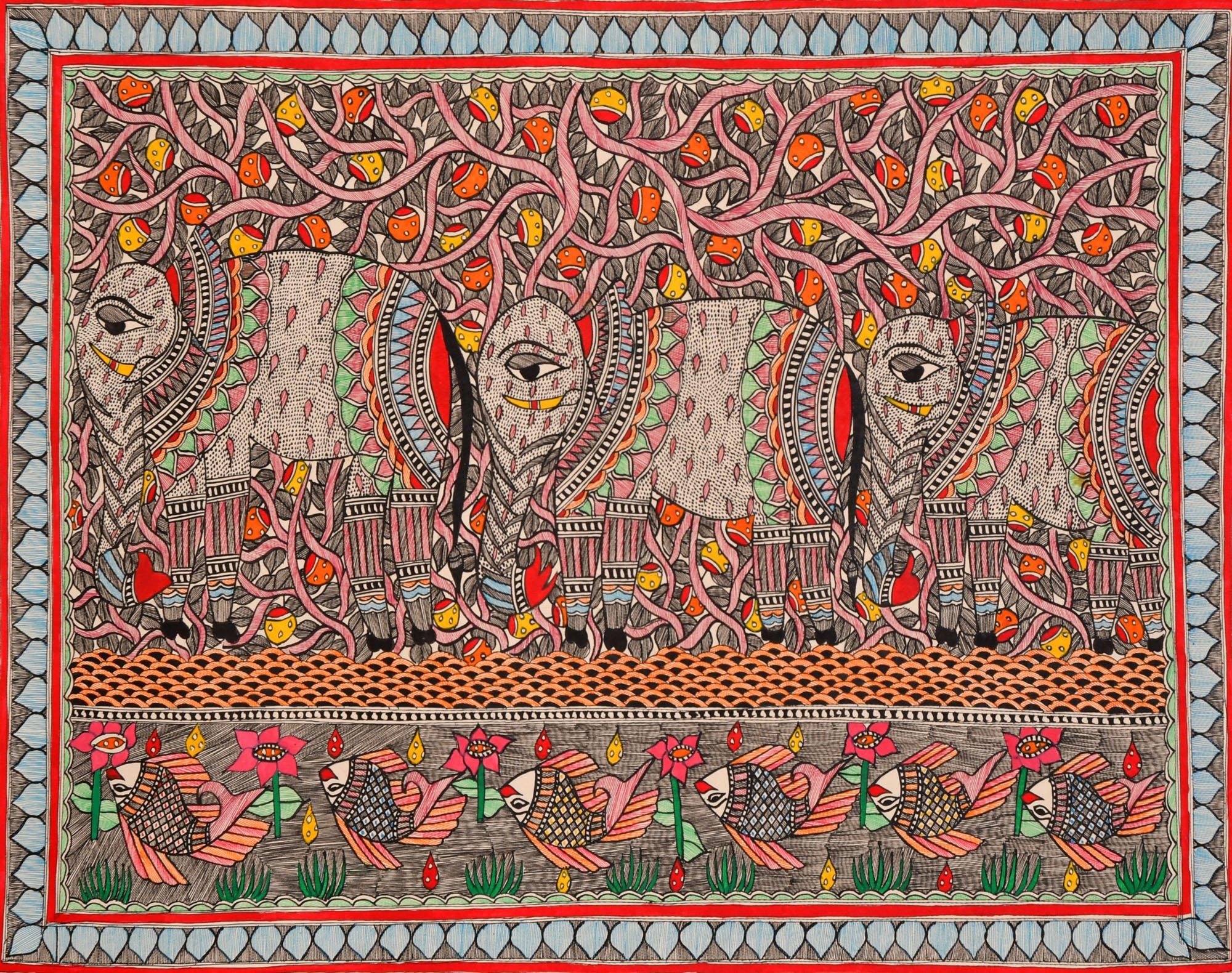 Elephants and Fishes - Madhubani Painting on Hand Made Paper - Folk Painting